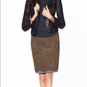 LOFT Lace Olive Green Pencil Skirt